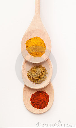 Spices on Three Spoons