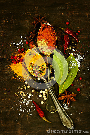 Spices On A Wooden Board Stock Images - Image: 28584704