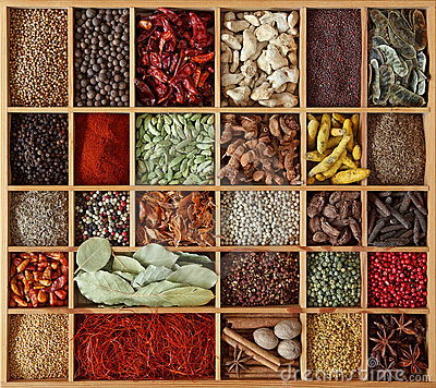 Spices  in wooden box