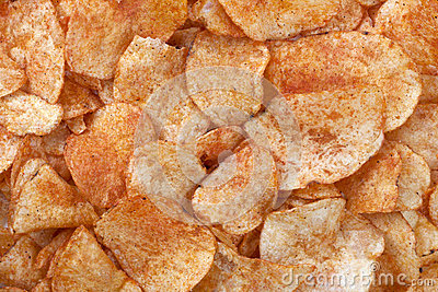 Spicy barbecue flavored potato chips