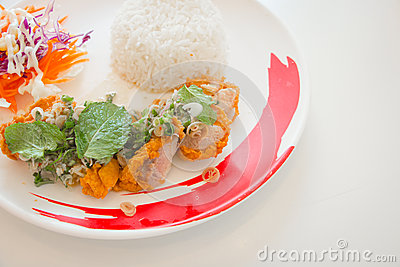Spicy Chicken Fried Salad In Thailand Stock Photo - Image: 53985530