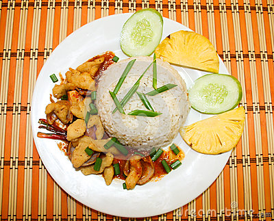 Spicy dried fried fish with white rice