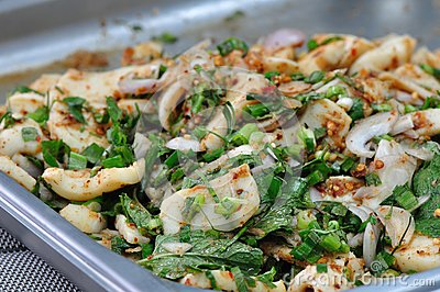 Spicy miced squid salad