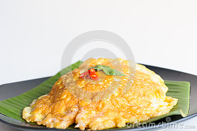 Spicy omelet  on banana leaf