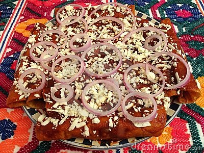 Spicy Red Enchiladas With Toppings