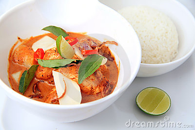 Spicy red fish curry