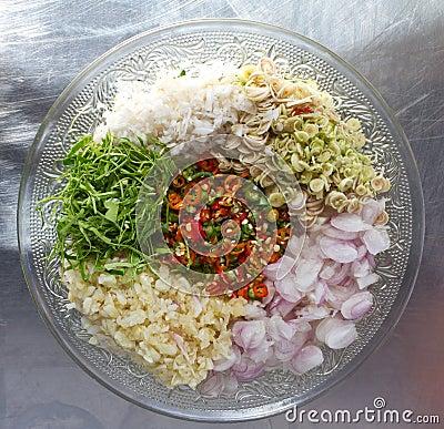 Spicy sliced ingredients.