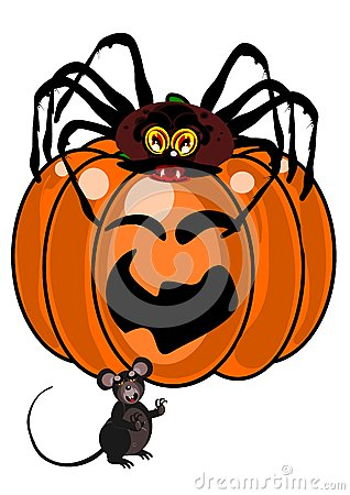 Spider and mouse with pumpkin