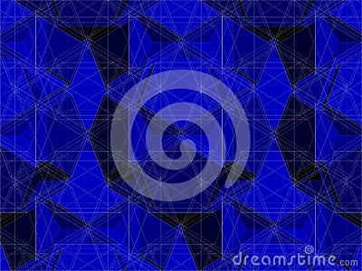 Spider Net Line Geometric Blue Kaleidoscope Vector
