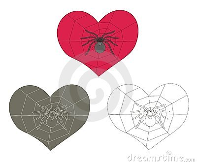 Spider and web inside heart