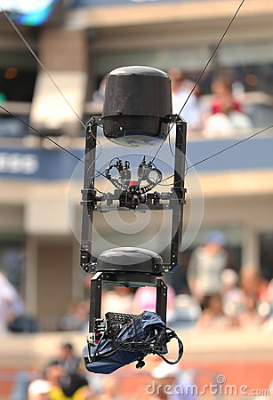 Spidercam aerial camera system used for broadcast from Arthur Ashe Stadium at the Billie Jean King National Tennis Center