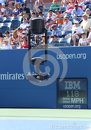 Spidercam aerial camera system used for broadcast from Arthur Ashe Stadium at US Open 2013 Editorial Photography