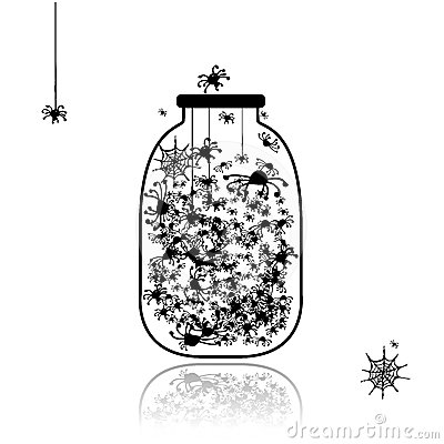 Spiders in jar for your design