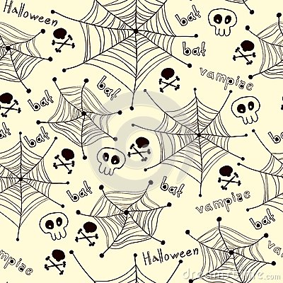 Spiders on Webs pattern on white background