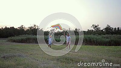 Spiel in der Natur, ein lächelndes Mädchen und ein süßer Junge spielen aktiv mit dem Drachen in Waldverglasung während des Wochen stock footage