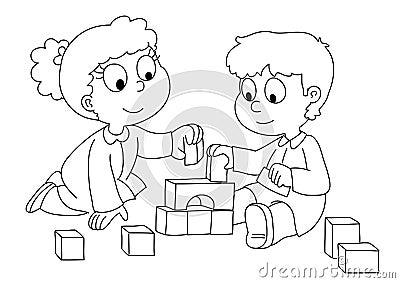 Spielende Kinder - bw