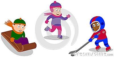 Spielende Kinder - Winter-Spiele