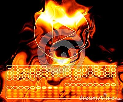 Spielknopf auf Feuer.
