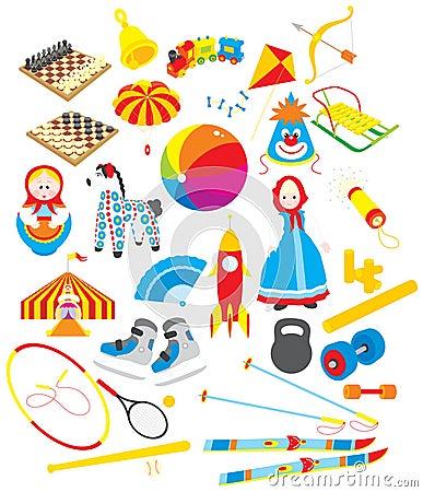 Spielwaren und sportliches Zubehör