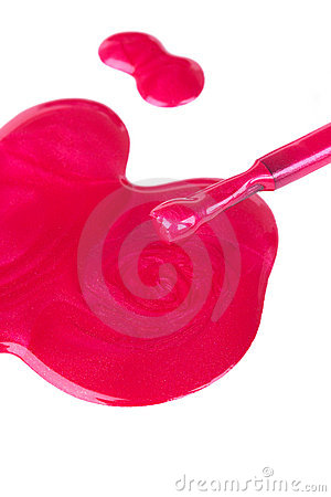 Free Spilled Nail Lacquer On White Stock Photos - 21519153