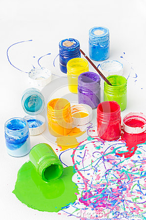 Spilled paint bottles