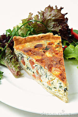 Spinach beet and leek quiche
