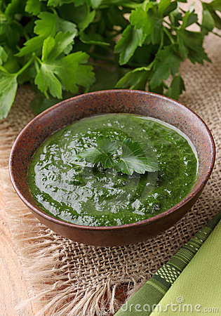 Free Spinach Cream Soup Stock Photography - 18165452