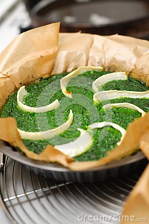 Spinach and onion quiche