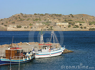 Spinalonga View from Plaka Beach Elounda in Crete