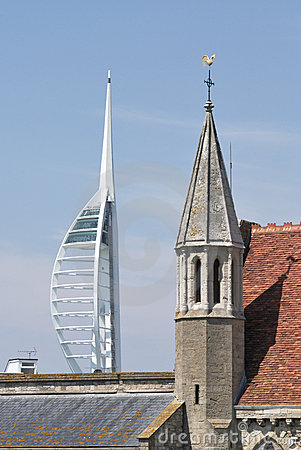 Spinnaker Tower and disused church. Portsmouth. UK