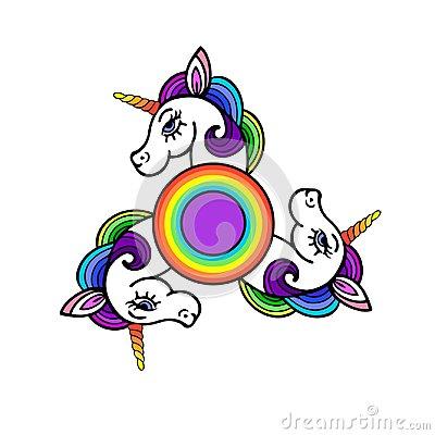 Spinner with cute unicorn head. Stock Photo
