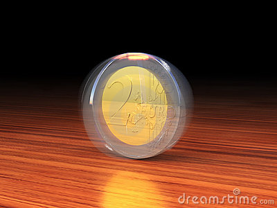 Spinning 2 Euro coin.