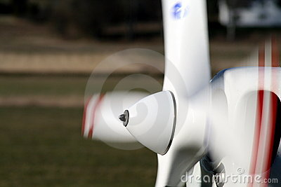 Spinning airplane propeller