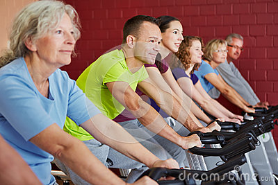 Spinning class in fitness center