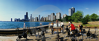 Spinning class on North Avenue Beach Editorial Image