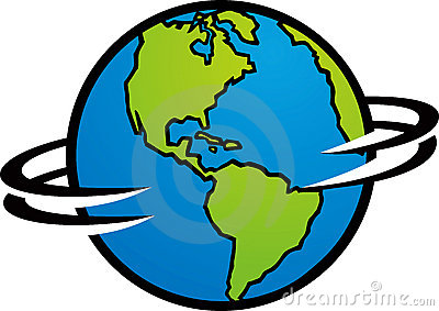 The earth is spinning around  showing America Spinning Globe Clip Art