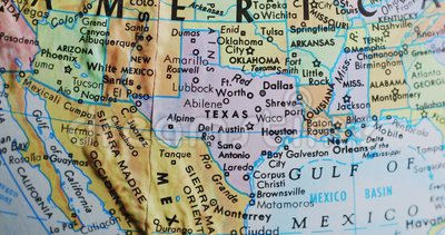 Spinning globe map of Texas USA 4K. Spinning globe map focus on Texas United States of America in the middle stock video