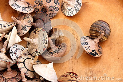 Spinning tops of wooden
