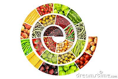 Spiraal die van vruchten en groenten wordt gemaakt
