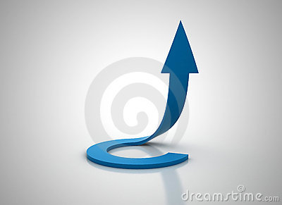 Spiral blue arrow going up 3d illudtration