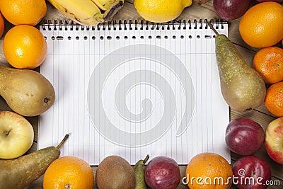 Spiral book amidst fruits