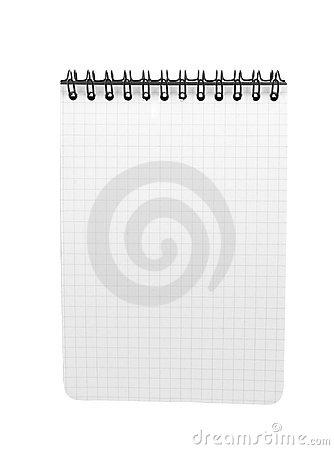 Spiral bound note pad isolated