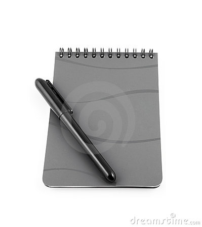 Spiral bound note pad and pen isolated