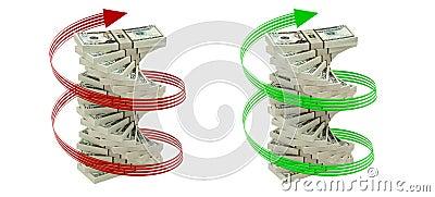 Spiral of 20 Dollar bills