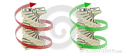 Spiral of 100 Dollar bills