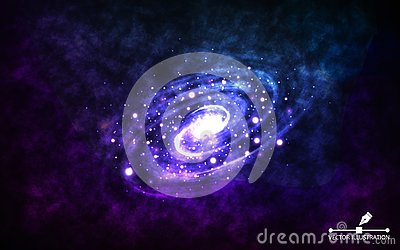 Spiral galaxy on space background. Realistic abstract galaxy with color nebula. Cosmic backdrop with stardust and Vector Illustration