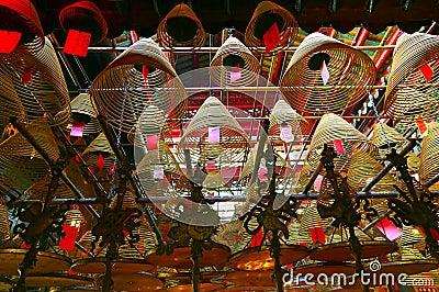 Spiral incense coils of Man mo temple hong kong Editorial Image