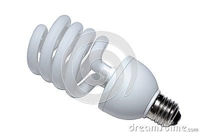 Spiral lightbulb. Clipping path.