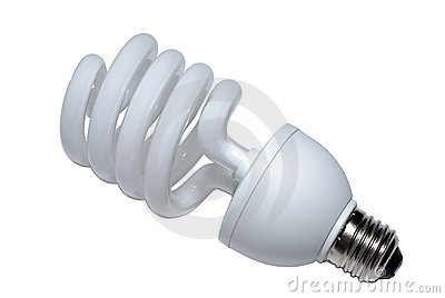 Spiral lightbulb close-up.