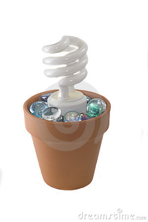 Spiral lightbulb in terra cotta planter
